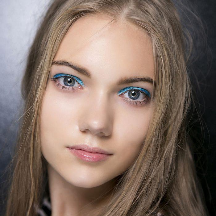Bright blue shimmer eye shadow