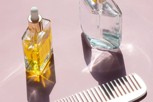 oil bottles and comb