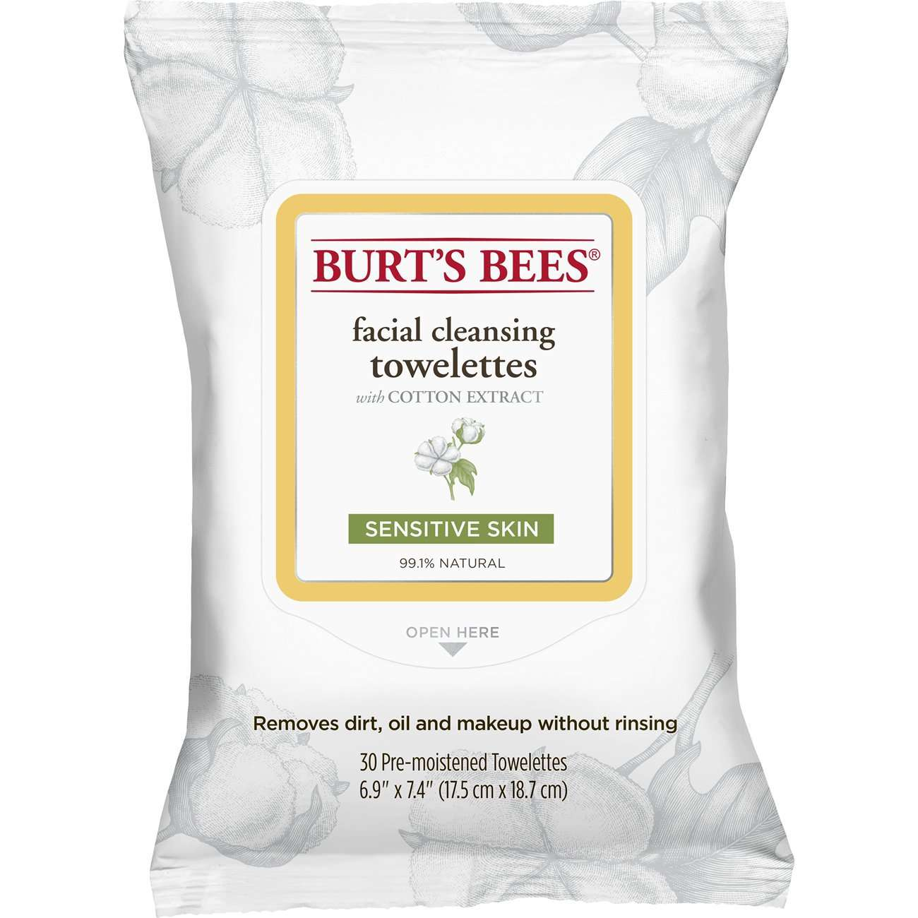 Burt's Bees Facial Cleansing Towelettes With Cotton Extract