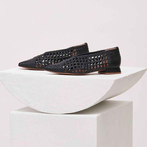 Black Woven Leather Ballerina Flats ($598)