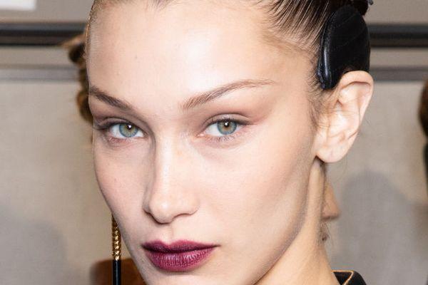 Bella Hadid with dark lipstick