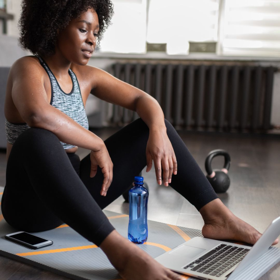 Woman planning her exercise routine