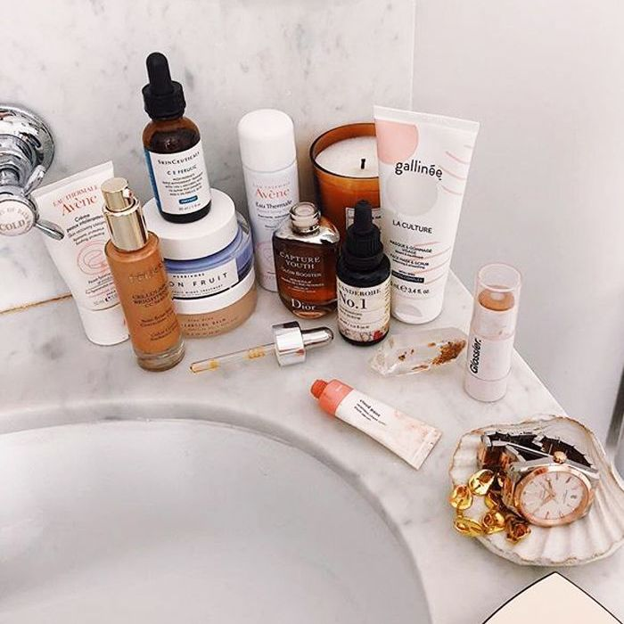 how to hide a hangover: lucy williams bathroom beauty products