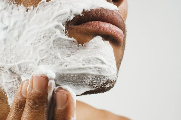 man with shaving cream