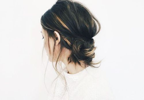 low banana bun with highlights