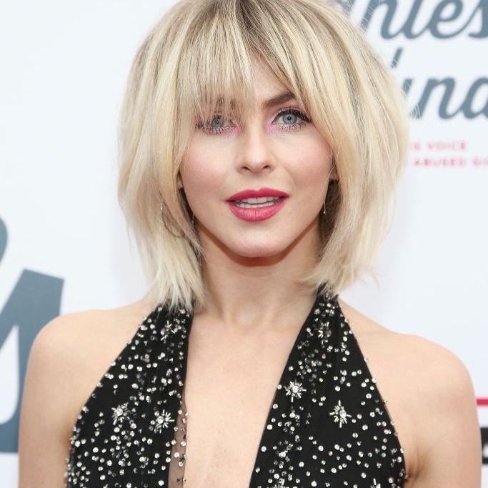 Julianne Hough blonde volumized shag with bangs
