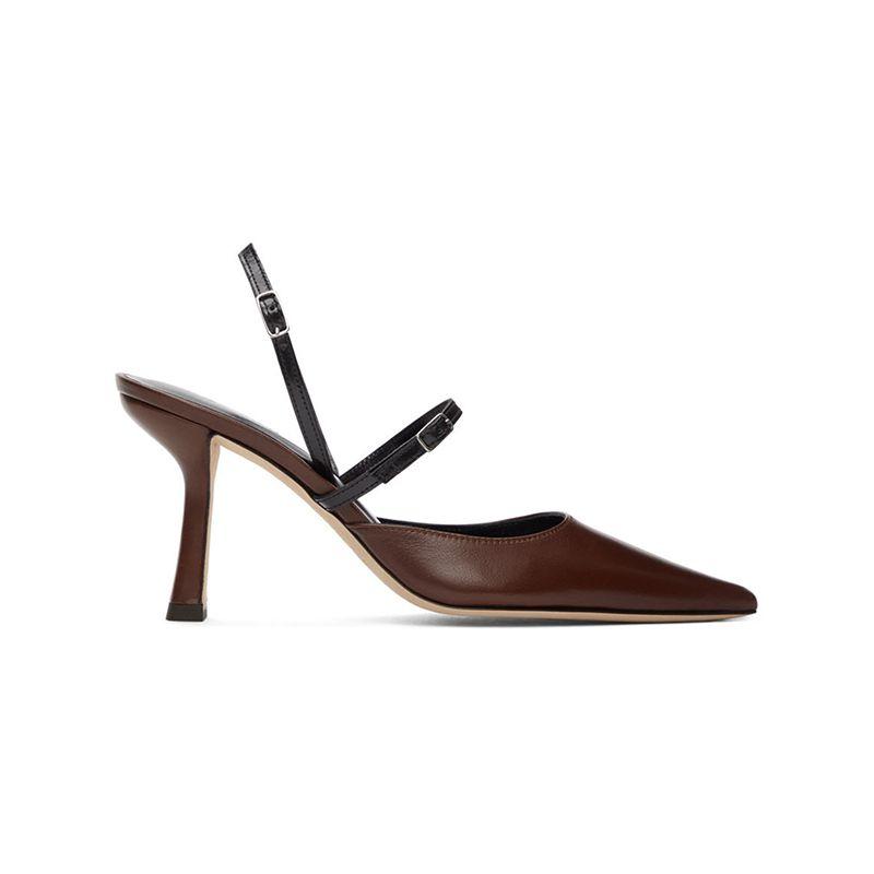 Brown & Black Nappa Tiffany Slingback Heels