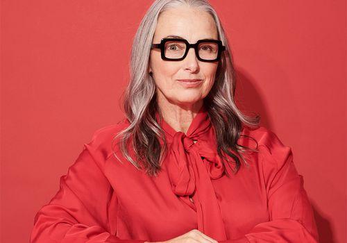senior woman portrait in red
