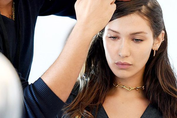 Model Bella Hadid getting her hair done