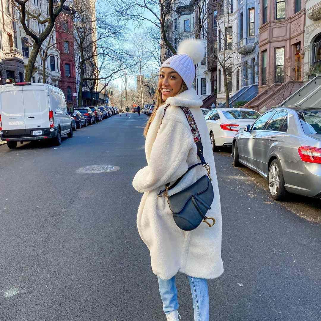 Tayshia Adams in a coat in winter NYC