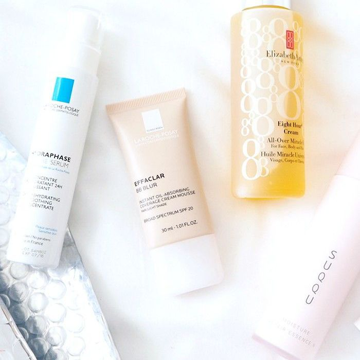 Assortment of skincare products