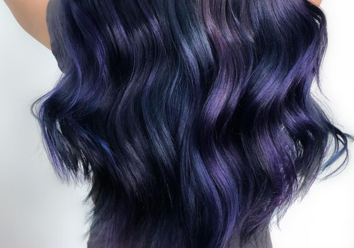 woman with purple mermaid hair