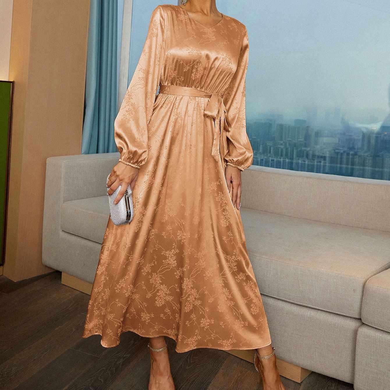 Shein Satin Jacquard Self Tie V-Neck Dress
