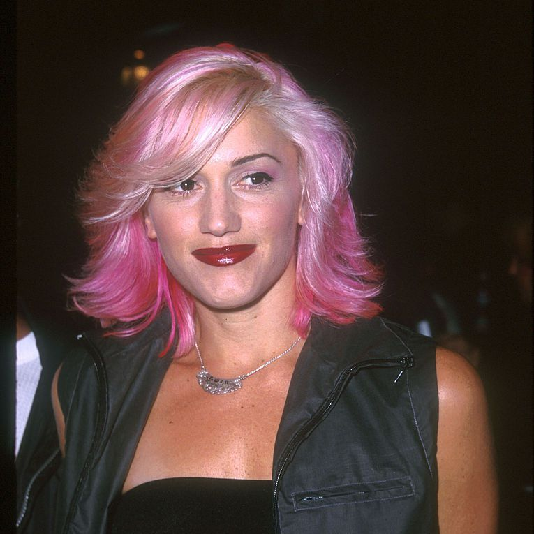 Gwen Stefani with pink hair.