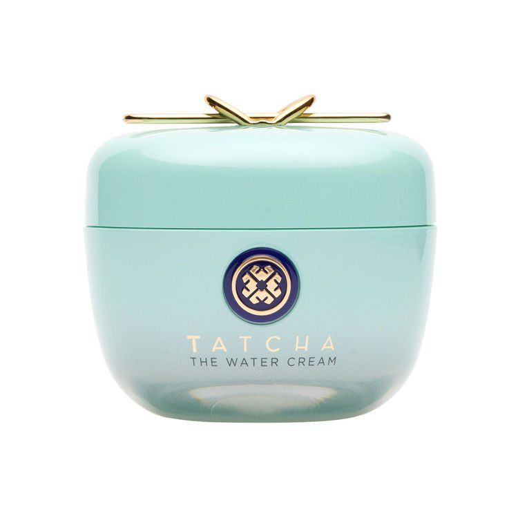 Tatcha's water cream, which comes in light turquoise and gold packaging