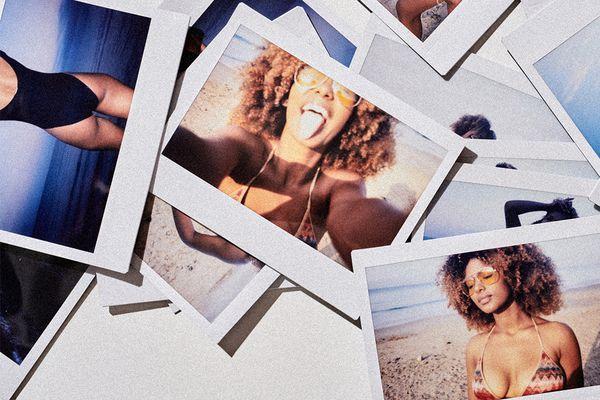 polaroids of happy person at the beach