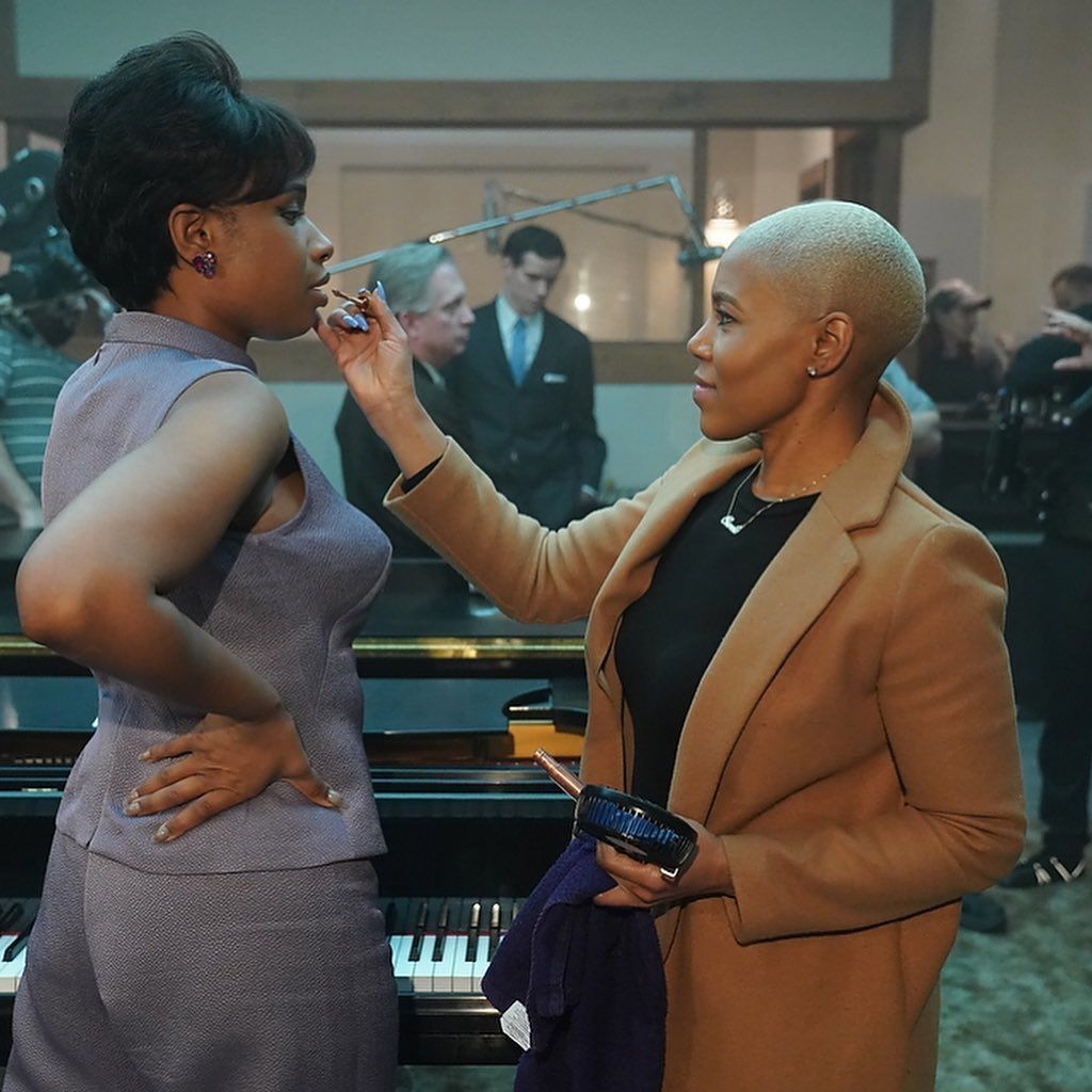 Stevie Martin doing Jennifer Hudson's Makeup on Respect movie set