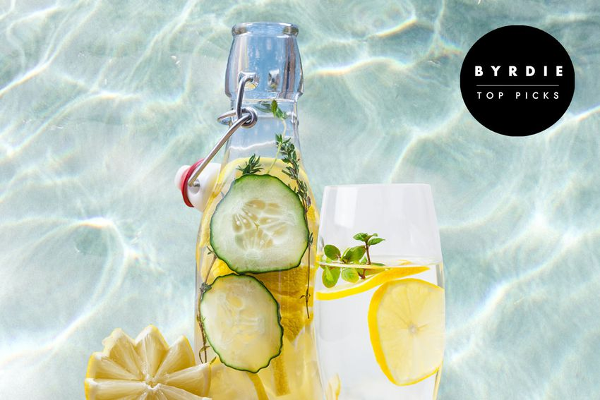 Photo composite of a clear bottle full of water with lemon and cucumber slices, next to a glass of water with lemon slices and a carefully cut lemon