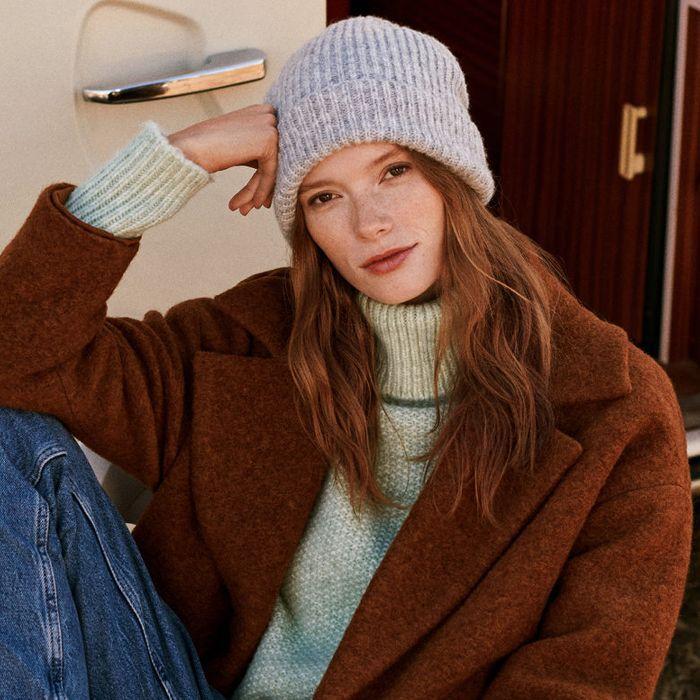 Best Mood Boosting Beauty Products: Woman in knitwear