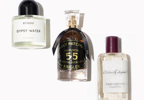 three perfumes on a white background