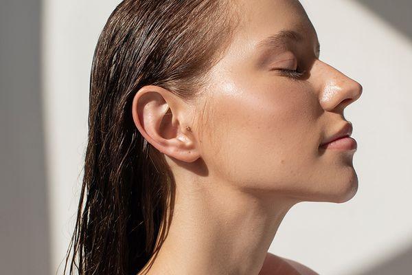 woman with dewy skin