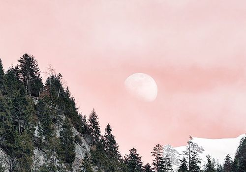 Moon ritual: pink sky and full moon