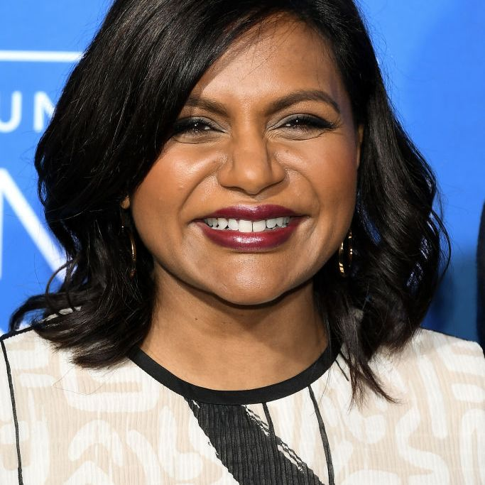 Mindy Kaling side-parted wavy bob