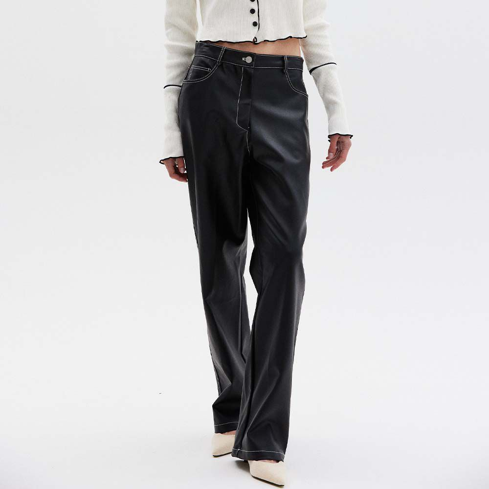 Contrast Stitch Vegan Leather Pants