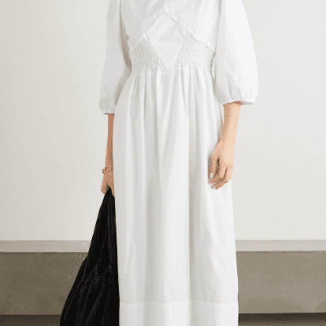 Caes Shirred Lyocell and Cotton-Blend Poplin Maxi Dress