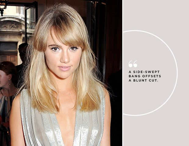 girl with blonde hair in a silver dress with side-swept bangs