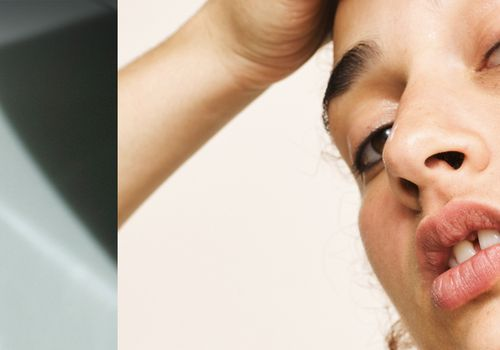 split image of an oil vial and someone posing like they are looking in the mirror at their face