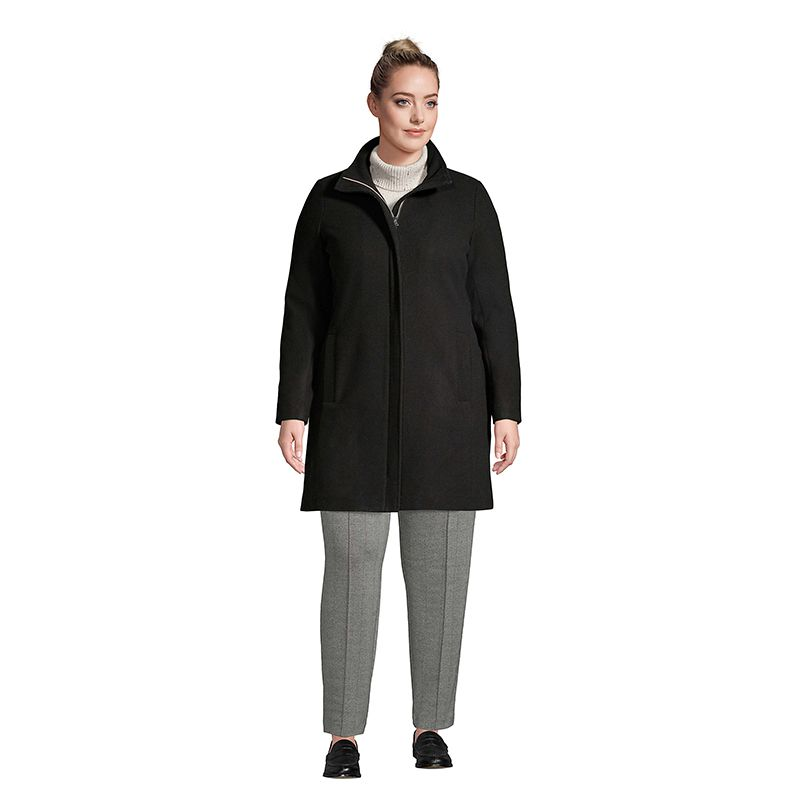 Plus Size Insulated Long Wool Dress Coat