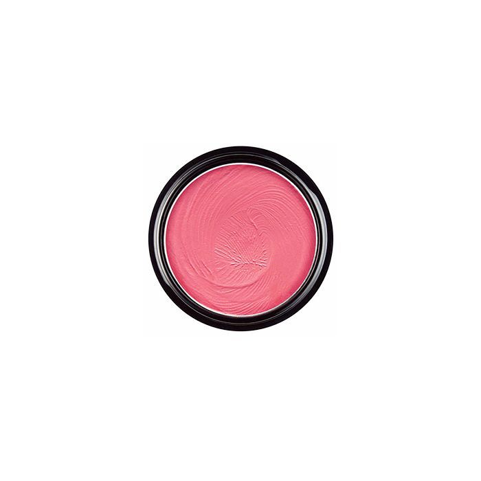 Container of pink makeup product on white background