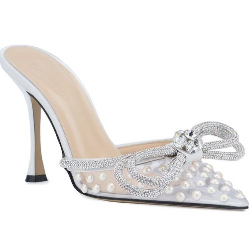 Mach & Mach Double Crystal Bow Pointed Toe Mule