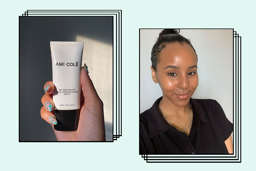 writer holding and wearing ami cole skin tint