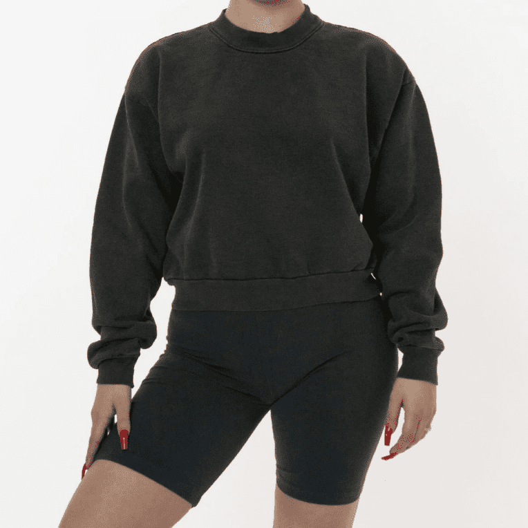 Los Angeles Apparel Cropped Mock Neck Pullover
