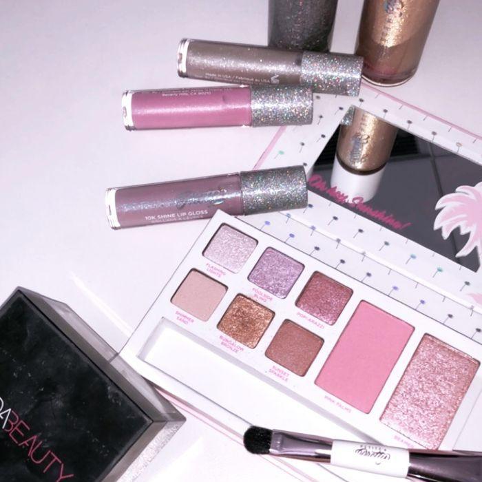 Lip gloss and eyeshadow