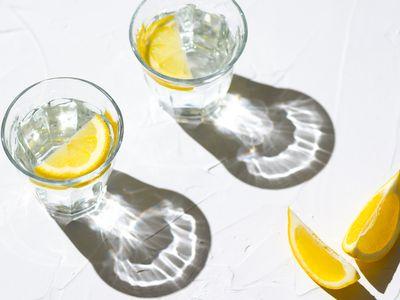 glasses of lemon water