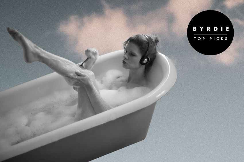Photo composite of woman with headphones in a bubble bath shaving her leg