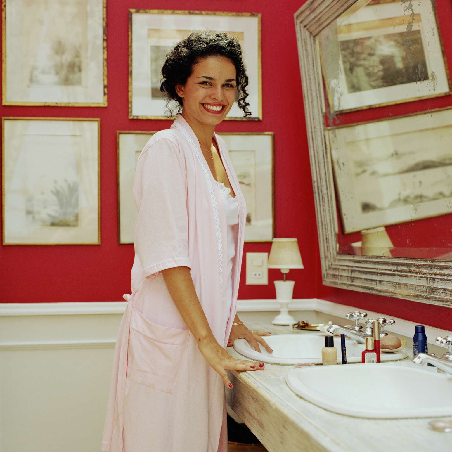 Woman in a well-lit bathroom