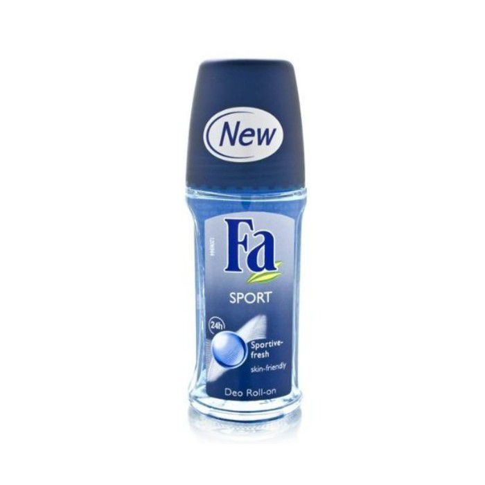 Bottle of blue deodorant.