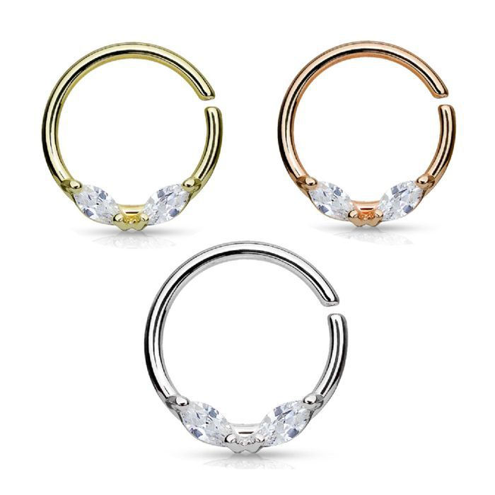 Delicate Crystal Surgical Steel Seam Ring