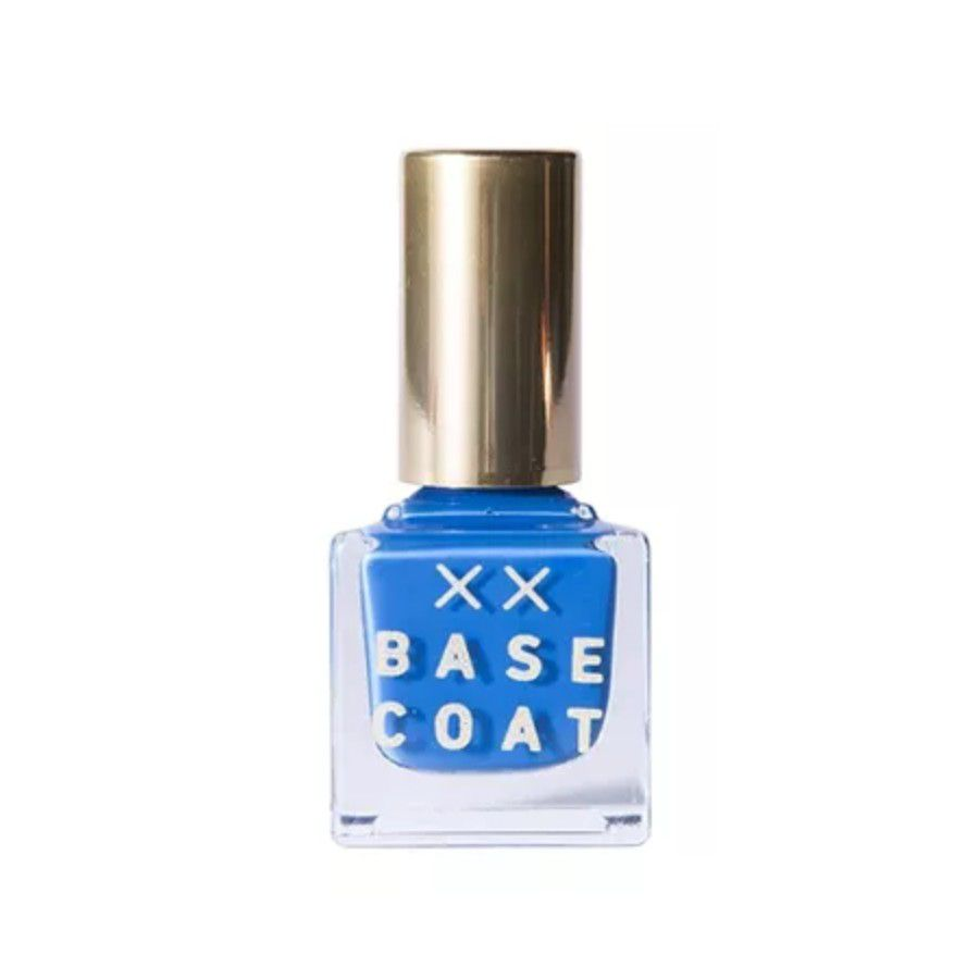 Bottle or royal blue nail polish with a gold lid.