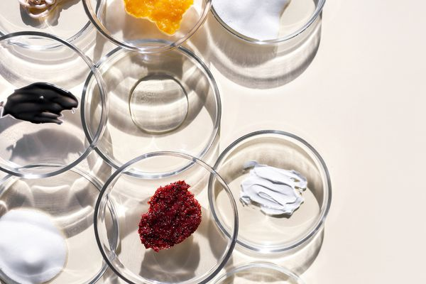 skincare swatches in glass bowls