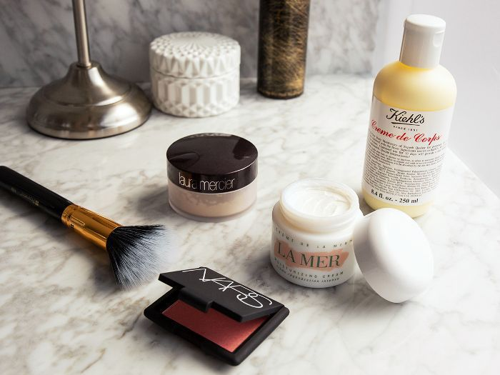 Beauty products on a bathroom counter