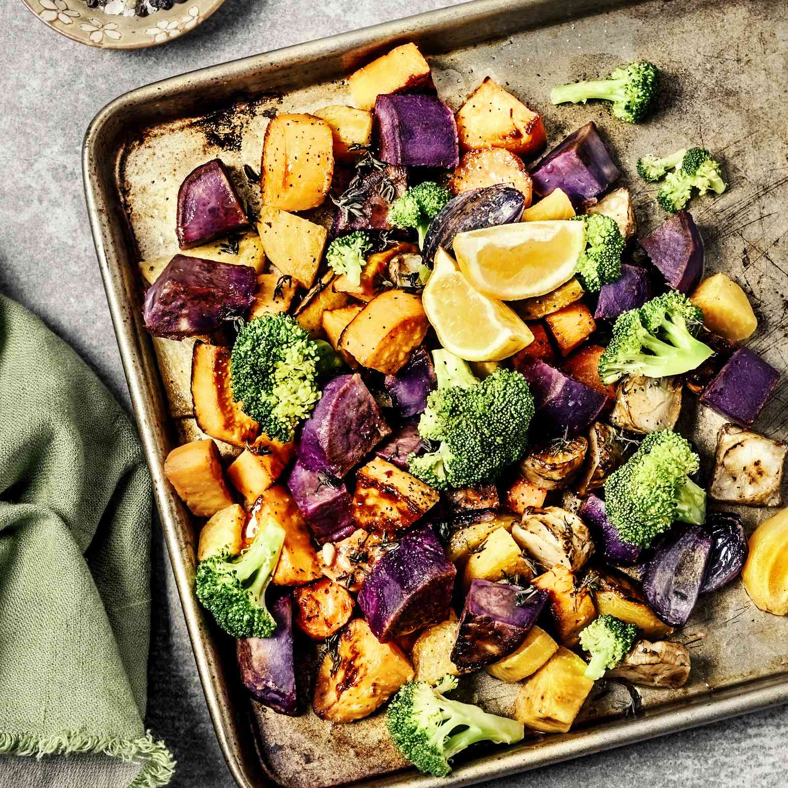 Tray of roast vegetables
