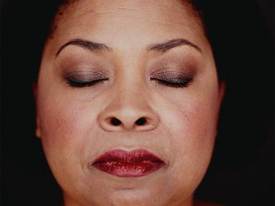 woman with eyeshadow and face makeup