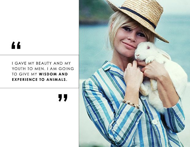 Brigitte Bardot wearing a hat, holding a bunny and beauty quote