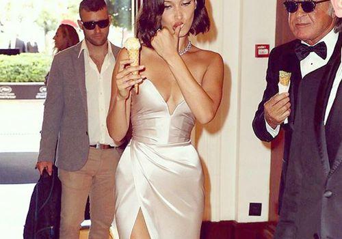 Bella Hadid eating an ice cream cone
