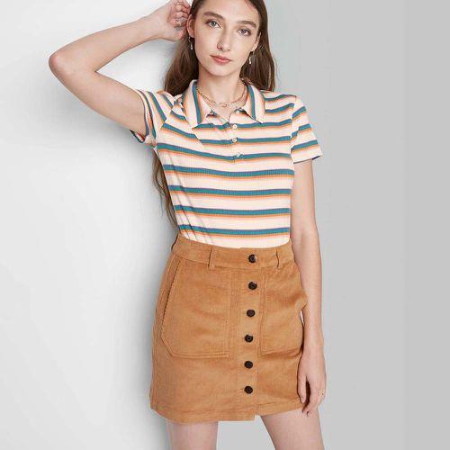 Women's Button-Front Cord Mini A-Line Skirt ($17)